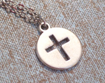 Antiqued Silver Cross Pendant Necklace, Modernist Cross Charm, Antiqued Silver Plated Chain