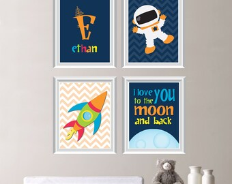 Baby Boy Nursery Art - Astronaut Nursery Art - Astronaut Art - Astronaut Bedroom Art - Astronaut Bedroom Decor - Navy Orange Green (NS-215)