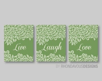 Bedroom Art - Live Laugh Love Wall Art - Bedroom Wall Art - Bathroom Decor - Home Decor - Living Room Art - Sage Green and Ivory (NS-405)