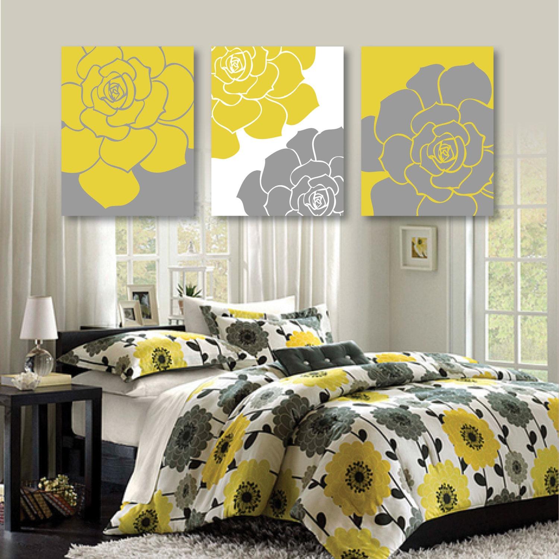 Mustard Yellow And Gray Dahlia Flower Print Trio Home