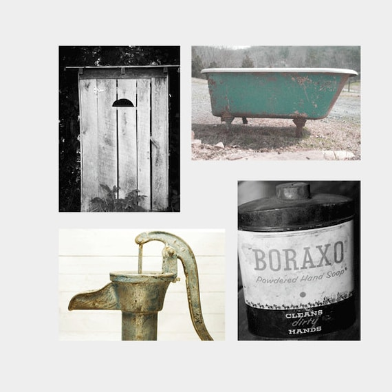 bathroom wall set13 vintage photography by theroostfineart