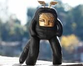 RICE BABY - Black Leather Toy Art with Brass Face - Stuffed Plush - Handmade Designer Art Toy - Spencer Hansen for Blamo Toys