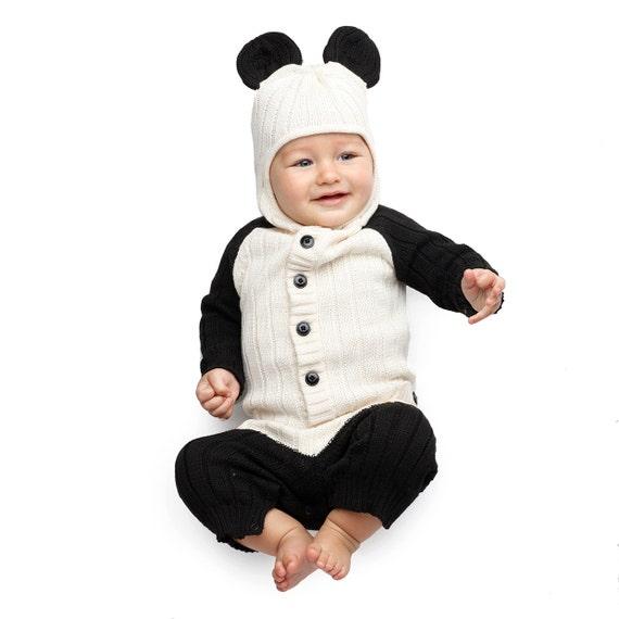 panda bear baby romper for toddler handmade woven cotton. Black Bedroom Furniture Sets. Home Design Ideas
