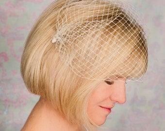 Bandeau Birdcage Veil, Bridal Veil, Ivory Veil, Wedding Veil, Birdcage Veil, Bandeau Veil- ELISE