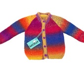 "Colorful hand made artistic woolen kids cardigan ""juicy fruits"" in size 104, 2,5-3 years old"