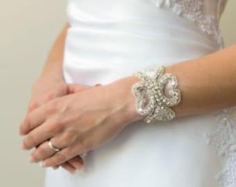 Bracelet , Bridal Bracelet , Wedding Bracelet , Prom Bracelet , Bridal Beaded Rhinestone Crystal Bracelet