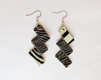 Earrings design - Delight Zebra black and white