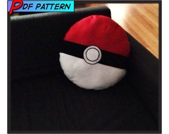 PDF Pattern Pokemon Ball Pokeball Extra Large Pillow - Geekery, pokemon, poke ball, pillow, plush, anime, cosplay, video game, decor, nerdy