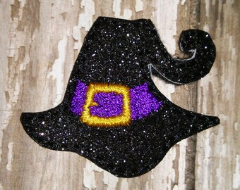 Set of 4 Halloween Witch Witches Black Hat Glitter Feltie Felt Embellishment Bow! Felties Applique Party