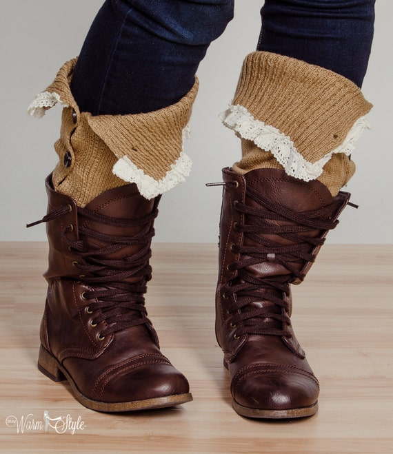 Leg Warmers With Buttons And Lace Thoughtful And Soft Camel