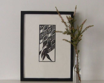 Gumleaves 2010 - Linoprint, original artwork.