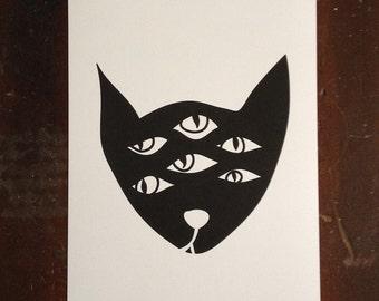 Alien Cat Print