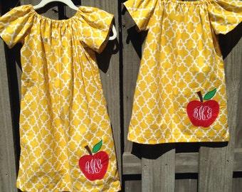 Yellow Quatrefoil Apple Dress