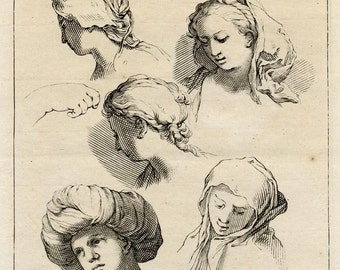 18th c. Engraving, Artist's Study of the Human Head and Lighting