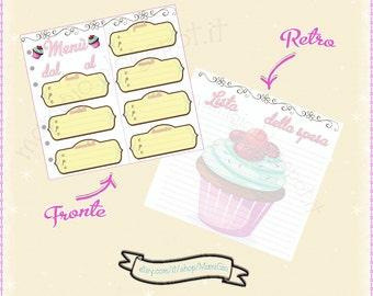 "Insert ""weekly Menu"" for filofax personal Cupcake-style agenda"