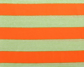 SALE! Bright Orange and Green Sparkle Stripe Knit Fabric