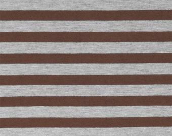 SALE! 3.00/Yard - KNIT Brown Heather Gray Stripe Jersey Knit Fabric, Super Soft Cotton Blend Jersey Knit Sold by the Yard 5038