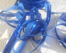 Royal Navy 3/8 Sparkle Glitter Ribbon ,No elastic, Wholesale glitter ribbon, Diy project ribbon