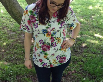 Neon Floral Butterfly Top