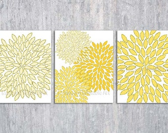 Yellow Nursery Art, Yellow Wall Art, Printable Files, Yellow Flower, INSTANT DOWNLOAD, Yellow Wall Art, Modern Yellow Wall Art, Set of 3