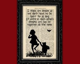 Winnie the Pooh book Art Print Christopher Robins Prints Silhouette Art Quotes Original Poster Dorm Room Print Gift Wall Decor (Nº12)