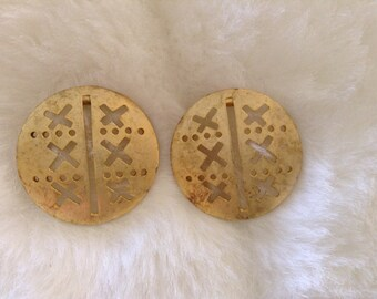Tic Tac Toe Pierced Earrings, Gold Tone, 1.5 Inches In Diameter
