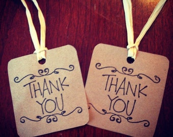50 Thank You Gift Tags / Wedding or Shower Paper Bag Tags / Thank You Rustic Style Tags