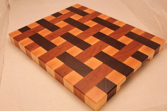 items similar to wood end grain weave pattern butcher block cutting board on etsy. Black Bedroom Furniture Sets. Home Design Ideas