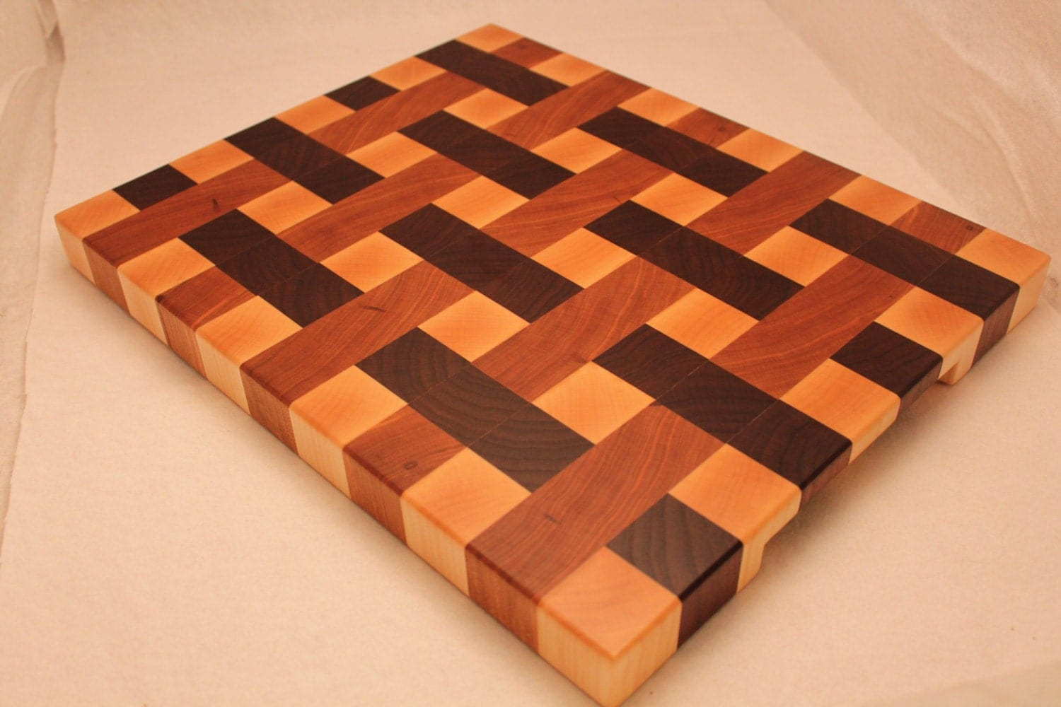 Wood end grain weave pattern butcher block cutting board for Puzzle cutting board plans