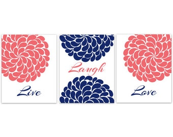 Home Decor Wall Art, Live Laugh Love, Coral Navy Wall Art, Flower Burst Bathroom Wall Decor, Coral and Navy Bedroom Decor - HOME111