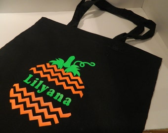 Personalized Halloween tote bag- Pumpkin trick or treat bag! Light weight canvas halloween bag!