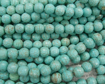 12mm turquoise faceted beads, 15.5 inch