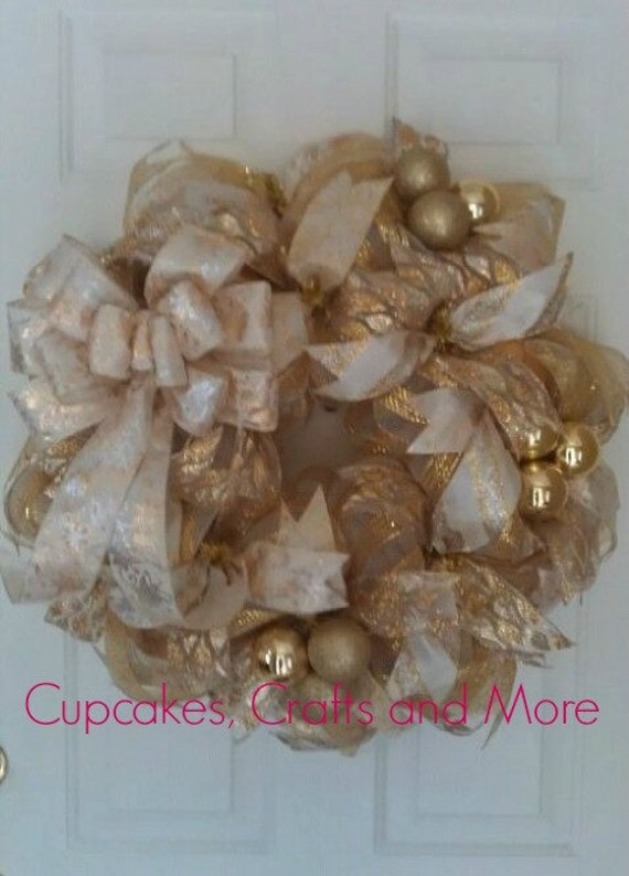 christmas deco mesh wreath gold and off white christmas wreath christmas mesh wreath