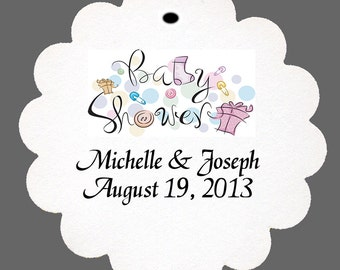 24 Personalized Baby Shower Favor Scalloped Tags