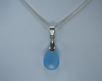 Natural Blue Chalcedony Pendant with Chain
