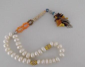 islamic freshwater pearl tasbih tasbeh masbaha with real baltic amber handmade