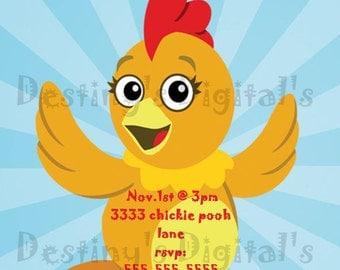 On Sale-Chica Birthday Party Invitation-Chica-Personalized Invite-Custom-5x7-Toddler birthday invitation