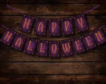 Happy Halloween - Chalkboard Halloween Banner - DIY Download and Print