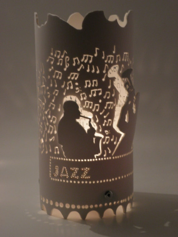Jazz Party Centerpiece Votive Tea Light Candle Holder Jazz Art