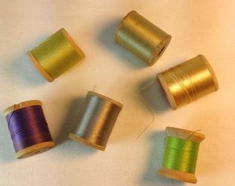 Vintage Pure Silk Thread Wooden Spools. No.2