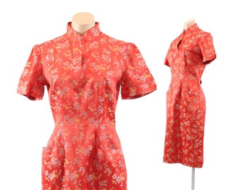 Vintage 40s 50s Wiggle DRESS Cheongsam Orange Floral Brocade Asian Womens Party Short Sleeve Dress 1940s 1950s Small S