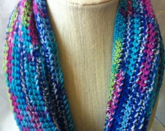Crochet Multicolor Infinity Scarf, Colorful Infinity Scarf
