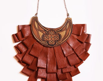 Statement Neckalce, Genuine Leather Neckalce, Brown Leather Necklace, Unusual Necklace, Evening necklace, Bold necklace, Bib necklace