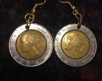 Italy 500 lira coin earrings. Bi-metal, two-toned