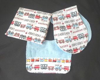 Trains! baby boy / Bib / Burp Cloth / Changing Pad Set / Baby Shower Gift / choo choo/ red/ blue