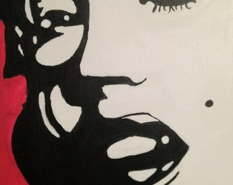 Black White Red painting of Marilyn Monroe 6 inch * 8 inch