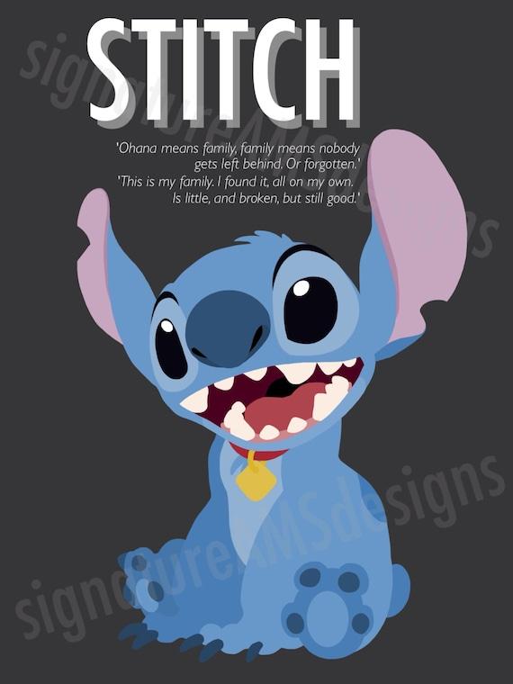 Minimalist Digital Artwork of Disney's LILO & STITCH CHARACTER - Stitch. ( 11.7x16.5 inches / A3 )