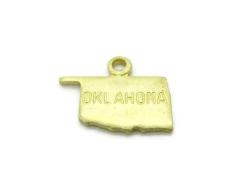 Tiny Raw Brass Oklahoma State Charms Pendants, 6 pcs, Made in the USA