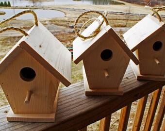 Three(3) Handmade Wooden Bird House