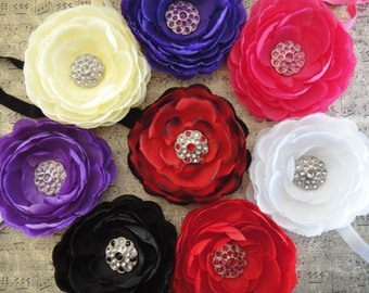 Rhinestone Rannie Headband, Large flower headband, Vintage flower headband